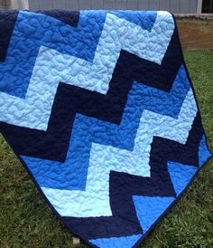 Chevron Baby Blues Crib Quilt Unique Baby Gift by littleashleighs, $38.00