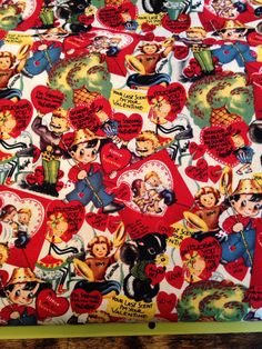 Vintage Valentine print fabric yard Be Mine by lolahpopvintagebaby