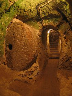 Derinkuyu Underground City in Cappadocia, Turkey.  Also see: Kaymakli Underground City