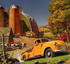 Chevy Trucks by Peter Helck (1893 - 1988)  From the 1920's through the 1940's Helck was very successful as a magazine illustrator and advertising artist. His commissions frequently were of industrial scenes, or featured cars, trucks and locomotives.  Peter Helck Paintings
