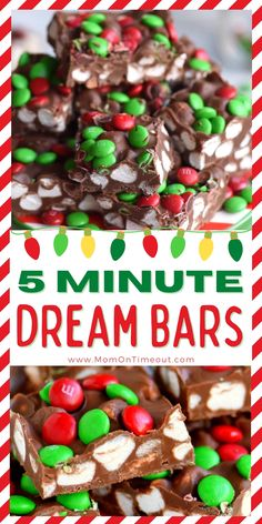 This easy Christmas desesrt takes just 5 minutes to make! Fun and festive, this simple recipe is perfect for holiday dessert tables, cookie trays and parties! No one will be able to resist them! Made with just a handful of ingredients, no bake, five minutes max – these bars are dreamy! // Mom On Timeout #christmas #dessert #nobake #holiday #chocolate #christmastreats