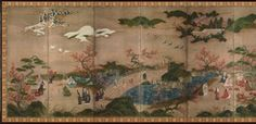 Maple-Viewing screen, Muromachi -Azuchi-Momoyama period/16th century  Tokyo National Museum. While autumnal motifs dominate the painting, the inclusion of the winter view shows that this composition belongs to the tradition of Four Seasons paintings begun in the Heian period (794-1185). It is thought that another screen, now lost, depicted spring and summer scenes.