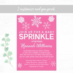 Snowflake Baby Sprinkle Invitation, Pink and White Winter Baby Sprinkle Invitation, Baby Girl Sprinkle Printable Invitation 1663 Baby Sprinkle Invitations, Photo Invitations, Pink Invitations, Digital Invitations, Printable Invitations, Birthday Invitations, Baby Girl Sprinkle, Ballerina Birthday, Baby Winter