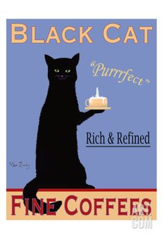 Black Cat Coffee Limited Edition by Ken Bailey at Art.com