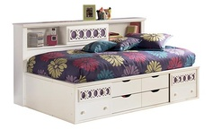 """Zayley Twin Bookcase Bed  Color Replicated White Paint  Dimensions 0""""W x 0""""D x 0""""H        With a bright replicated white paint finish flowing cleanly over the decorative """"Egg and Dart"""" lattice accents, the """"Zayley"""" youth bedroom collection offers an exciting contemporary design that features the versatility of 9 interchangeable color panels to add you own personal flair to the bedroom décor."""