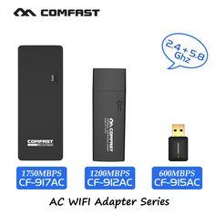 Comfast usb 와이파이 어댑터 최대 600 ~ 1750 mbps 802.11ac/b/g/n 2.4 천헤르쯔 + 5.8 천헤르쯔 듀얼 밴드 와이파이 동글 컴퓨터 ac 네트워크 카드 시리즈