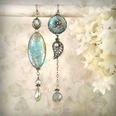 Daybreak Asymmetric Earrings Smoky Teal Aqua by MiaMontgomery Shell Earrings, Blue Earrings, Gemstone Earrings, Beaded Earrings, Jewelry Crafts, Jewelry Art, Jewelry Accessories, Jewelry Design, Jewlery