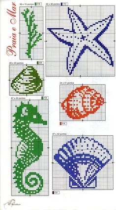Cross stitch sea shells and sea horse
