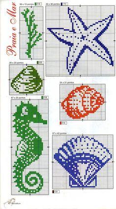 Cross stitch sea shells and sea horse