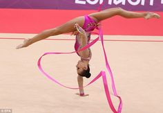 Silver star: Daria Dmitrieva came second in the rhythmic gymnastics