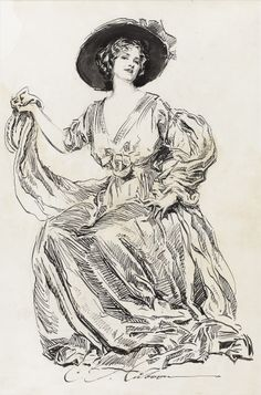 CHARLES DANA GIBSON Untitled, circa1900 . Ink on paper