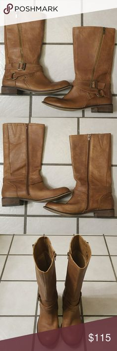 🔻REDUCED🔻 Gianni Bini Brown Leather Boots These are in great pre-loved condition Leather upper, man made sole.  Color is like a chestnut brown Gianni Bini Shoes Heeled Boots
