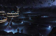 Asteroid Base, Cristi Balanescu on ArtStation at https://www.artstation.com/artwork/VG3wP