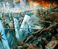 High Elf Spearmen holding the line against the Orcs