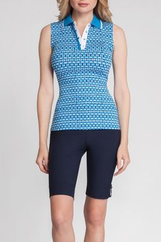 "This top is teal navy and white. It has a rib knit collar with logo snaps. 25"" Length. UPF 40 The top is intended for golf but can be worn with a cute skirt or pant for lunch or dinner.  Golf Top by Tail Golf. Clothing - Activewear Florida"