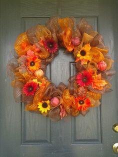 Fall deco mesh wreath.