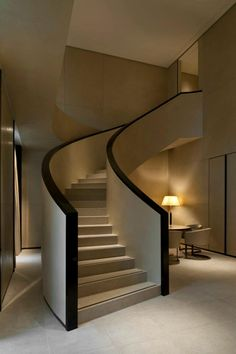 modern hotel Armani Hotel Milan is as chic and spare as its namesake with this curved and modern staircase Luxury Staircase, Interior Staircase, Curved Staircase, Stair Railing, Staircase Design, Interior Architecture, Staircase Ideas, Interior Design, Stair Design