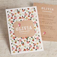 Kondig de geboorte van jullie baby aan met dit kleurrijke bloemenkaartje. De achterkant van het kaartje is volledig in ecolook en zorgt voor een extra leuk effect.Ecolook