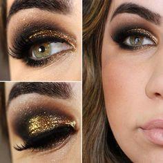 Tutorial – maquiagem de festa com dourado brilhante e preto