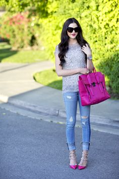 Top: All Saints (last seen here) | Bottoms: Rag and Bone | Heels: Valentino(also here) | Bag: Phillip Lim (similar fuchsia bag) | Glasses: House Of Harlow | Watch: Michael Kors | Lips: Candy Yum-Yum by Mac Sparkles and pink, nothing better! Have a wonderful Tuesday, xo!!