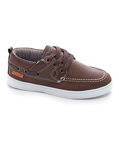 Light Brown Contrast-Stitch Boat Shoe