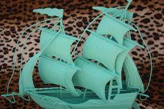 $25 - Shabby Chic metal vintage turquoise Ship - upcycled, nauticalFrom SacredArtDesignz