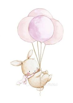 Rabbit with scarf and balloons illustration Art And Illustration, Cute Animal Illustration, Nursery Prints, Nursery Art, Nursery Drawings, Pastel Nursery, Animal Drawings, Cute Drawings, Drawing Animals