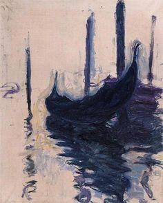 "Claude Monet ""Gondola in Venice, 1908"""