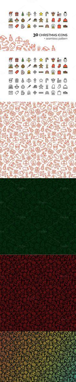 30 Ð¡hristmas Icons + Pattern. Christmas Patterns