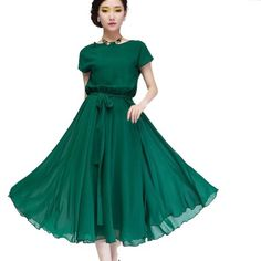 Zehui Women Party Ball Gown Chiffon Vogue Boho Evening Long Casual Dress w Belt Green US8