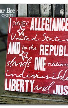 pledge allegiance plaque for home decor - love it!