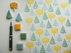 #papercraft #stampmaking.   DIY forrest stamps