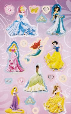 Stickers ark med Disney prinsesser