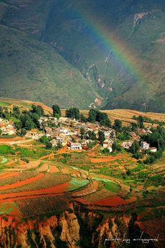 Red earth at Hongtudi - Kunming, Yunnan, China  (云南東川紅土地)