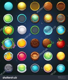 Set different buttons. For website, app, game user interface. Set different buttons. For website, app, game user interface. Game Ui Design, E Design, Icon Design, Design Ideas, Game Gui, Game Icon, Ui Buttons, Game Buttons, Buttons For Website
