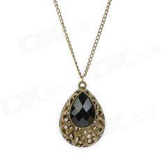 Retro Water-Drop Style Zinc Alloy Pendant Necklace - Black + Bronze