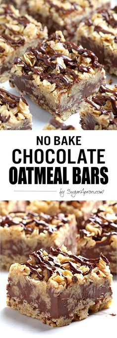 Bake Chocolate Oatmeal Bars The only thing easier than making these no-bake chocolate oatmeal bars is eating them.The only thing easier than making these no-bake chocolate oatmeal bars is eating them. Brownie Desserts, Oreo Dessert, Mini Desserts, Dessert Bars, No Bake Desserts, Easy Desserts, Delicious Desserts, Dessert Recipes, Health Desserts