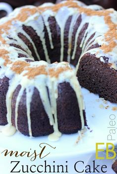 This Moistest Zucchini-Spice Cake really is! This Paleo cake is dairy-free, nut-free and coconut-free. Paleo Dessert, Gluten Free Desserts, Gluten Free Recipes, Delicious Desserts, Dessert Recipes, Flour Recipes, Gf Recipes, Cobbler, Tasty