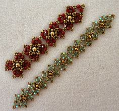 "Linda's Crafty Inspirations: Playing with my beads...Diamonds and Pearls Bracelet--Red Sample (1-inch wide): 11/0 seed beads Miyuki ""Dark Bronze"" (11-457D) 4mm bicones ""Siam - #C44"" (Beads One) 6mm pearls ""Antique Brass - #13""(Beads One) Green Sample (3/4-inch wide): 15/0 seed beads Miyuki ""Dark Bronze"" (15-457D) 3mm bicones ""Green AB - #212"" (China - eBay) 4mm druks ""Bronze"""