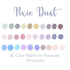 Pixie Dust Palette, Procreate Palette, iPad Procreate, Instant Download Colour Schemes, Color Combos, Colour Palettes, Pixie, Color Palette Challenge, Color Palate, Colour Board, Etsy App, Color Swatches