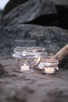Candles at the shore.