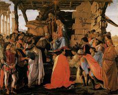 Uffizi Gallery. BOTTICELLI. Adoration of the Magi. (At the far right is Sandro Botticelli himself). c. 1350