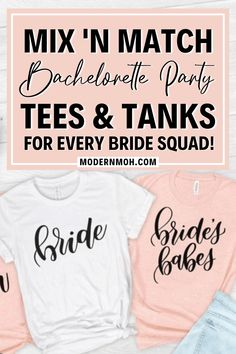 Mix and match with your bride squad by wearing any of these 50 super cute and coordinated bachelorette party shirts and tanks. #bachelorettepartyshirts #funnybachelorettepartyshirts #uniquebachelorettepartyshirts #ModernMaidofHonor #ModernMOH Bachelorette Party Planning, Bachelorette Party Shirts, Girls Weekend, Maid Of Honor, Squad, Bride, Dama De Honor, Bridesmaid, Maid Of Honour