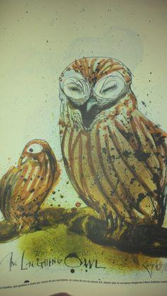 Laughing owl, by Ralph Steadman Owl Illustration, Illustrations, Ralph Steadman, Owl Art, Owls, Laughing, Inspire, Artists, Cartoon