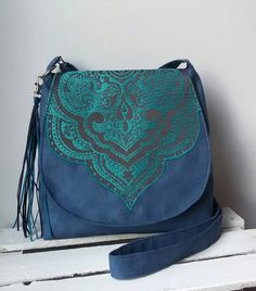 Azul oriental Boho chic bandolera bandolera Sling vegano bolso noche mediana bolsa monedero Oriental borla bolso Hippie