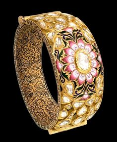 Jaipur jeweller Sunita Shekhawat specialises in kundan meena enamelwork, bringing new life to traditional Indian jewellery with colourful and vibrant designs. India Jewelry, Gems Jewelry, Bridal Jewelry, Jewelery, Gold Bangles, Indian Bangles, Antique Jewelry, Jewelry Collection, Jewelry Design