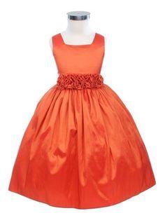 Orange Sleeveless Taffeta Flower Girl Dress (Sizes Infants-12 in 13 Colors)