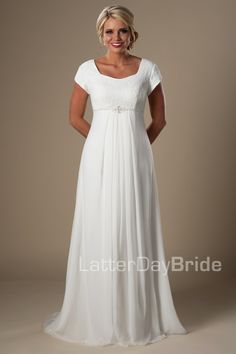 Springfield | Modest Bridal Gown by LatterDayBride & Prom | This gown features a lace bodice with a rounded dip neckline and cap petal sleeves an empire waist accented with beading, flowing chiffon skirt, and a court length train.    Gown available in Ivory (as pictured) or White.    Sleeve length or neckline can be customized.