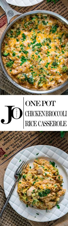 This Cheesy Chicken Broccoli Rice Casserole is made all in ONE POT and ready in only 30 minutes. It's cheesy, it's comforting, loaded with broccoli and super simple to make! #casserole #ricecasserole via @jocooks