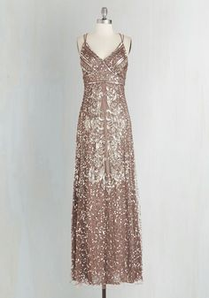 Fancy From Now On Dress - Knit, Mixed Media, Gold, Solid, Beads, Sequins, Special Occasion, Prom, Homecoming, Maxi, Spaghetti Straps